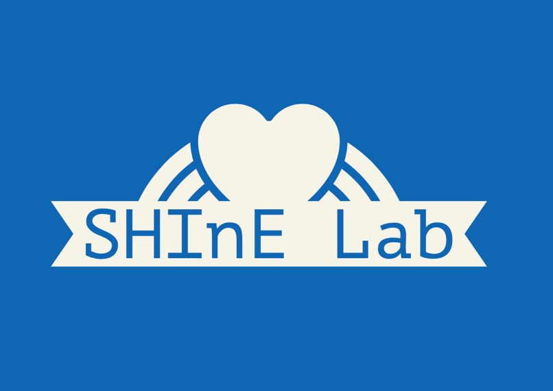 SHINE Lab Logo. SHINE Lab is in black letters with stars. In the background are rainbow colors.